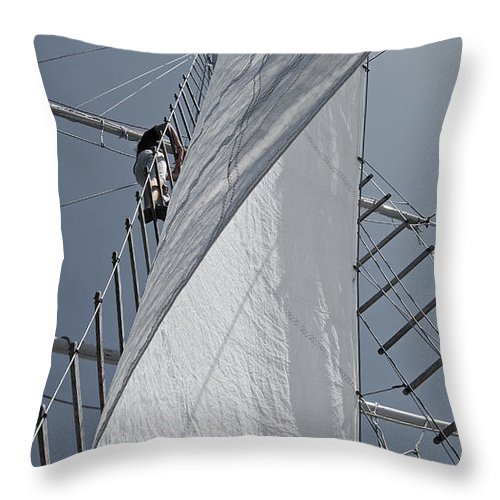 Schooner Throw Pillow featuring the photograph Hoisting The Mainsails by Jani Freimann