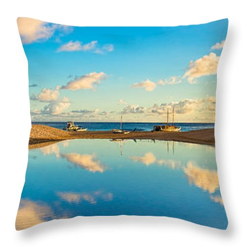Hokulea Throw Pillow featuring the photograph Hokulea Docked On Kailua Beach 3 To 1 Aspect Ratio by Aloha Art