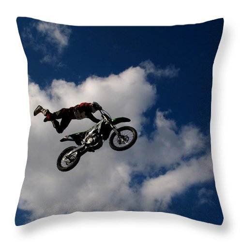 Motorcycle Throw Pillow featuring the photograph Hold On Tight by Donnie Freeman