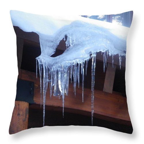 Icicle Throw Pillow featuring the photograph Hold On Tightly by Jonathan Barnes
