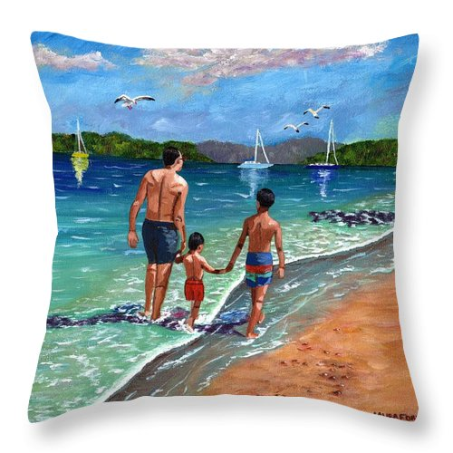 Seascape Throw Pillow featuring the painting Holding Hands by Laura Forde