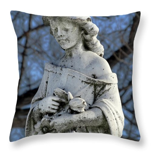 Flowers Throw Pillow featuring the photograph Holding Memorial Flowers by David T Wilkinson