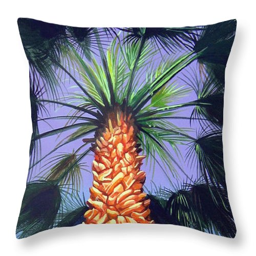 Palm Tree In Palm Springs California Throw Pillow featuring the painting Holding Onto The Earth by Hunter Jay