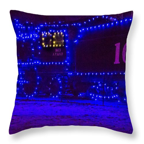 Steven Bateson Throw Pillow featuring the photograph Holiday Express Train by Steven Bateson
