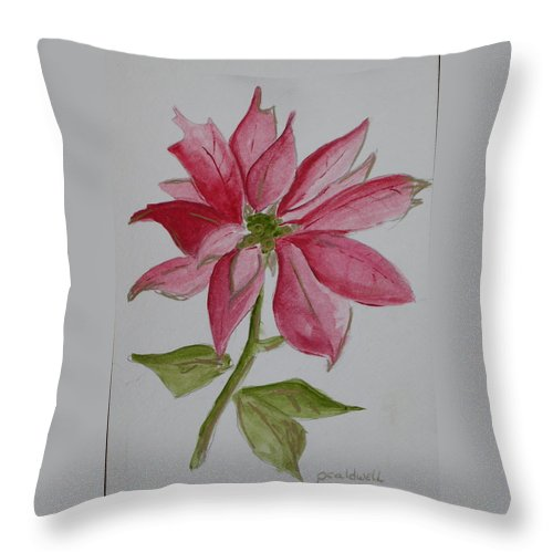 Flower Christmas Throw Pillow featuring the painting Holiday Flower by Patricia Caldwell