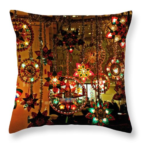Christmas Throw Pillow featuring the photograph Holiday Lights by Suzanne Stout