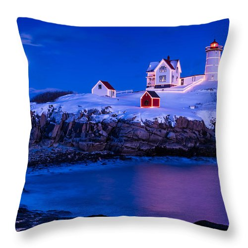 Cape Neddick Throw Pillow featuring the photograph Holiday Moon by Michael Blanchette