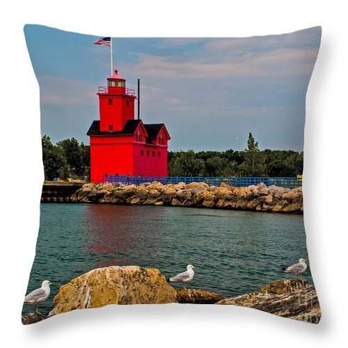 Attraction Throw Pillow featuring the photograph Holland Harbor Light by Nick Zelinsky
