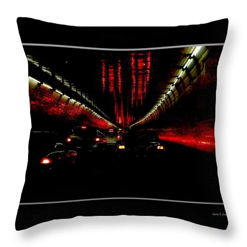 New York City Throw Pillow featuring the photograph Holland Tunnel Lights by Larry Jost
