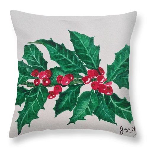 Holly Berries Throw Pillow featuring the painting Holly Berries by Joyce Brooks Newman