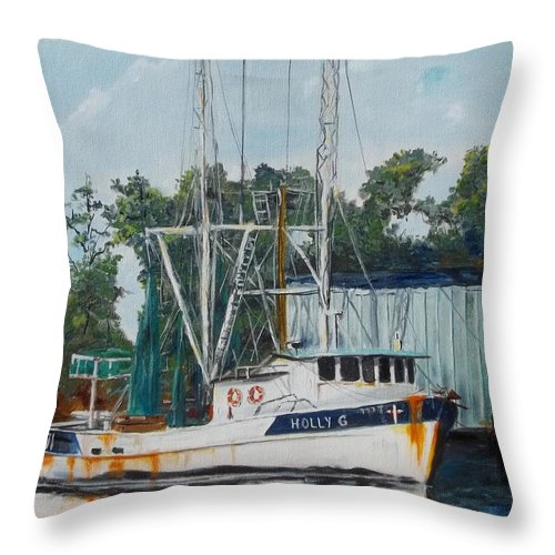 Seascape Throw Pillow featuring the painting Holly G by Danny Helms