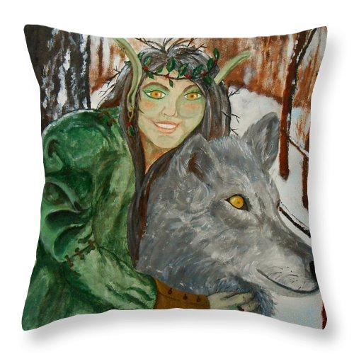Wolf Throw Pillow featuring the painting Holly Queen by Carrie Viscome Skinner