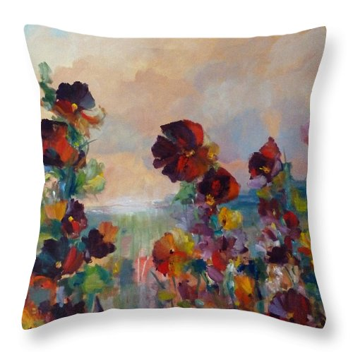 Hollyhock Throw Pillow featuring the painting Hollyhock Heaven by Beverly Fagan Gilbertson