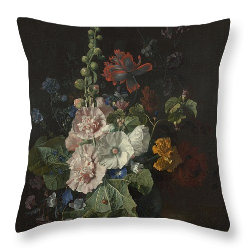 Jan Van Huysum Throw Pillow featuring the painting Hollyhocks And Other Flowers In A Vase by Jan van Huysum