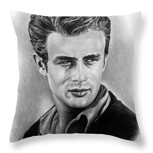 Portraits Throw Pillow featuring the drawing Hollywood Greats James Dean by Andrew Read