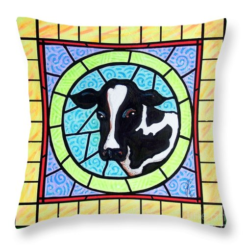 Cattle Throw Pillow featuring the painting Holstein 4 by Jim Harris