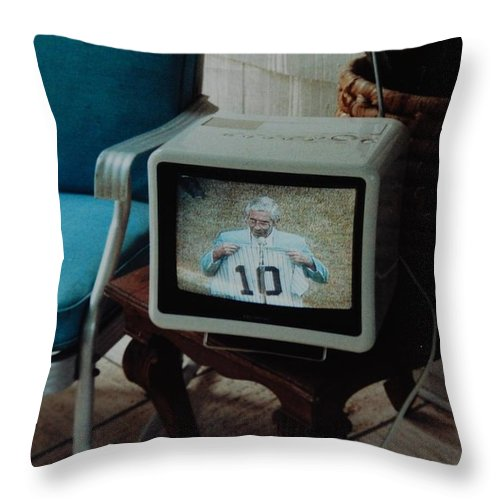 New York Yankees Throw Pillow featuring the photograph Holy Cow Phil Rizzuto Retired Yankee Number On 08 04 1985 by Rob Hans