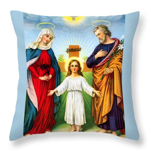 Holy Throw Pillow featuring the photograph Holy Family With Cross by Munir Alawi