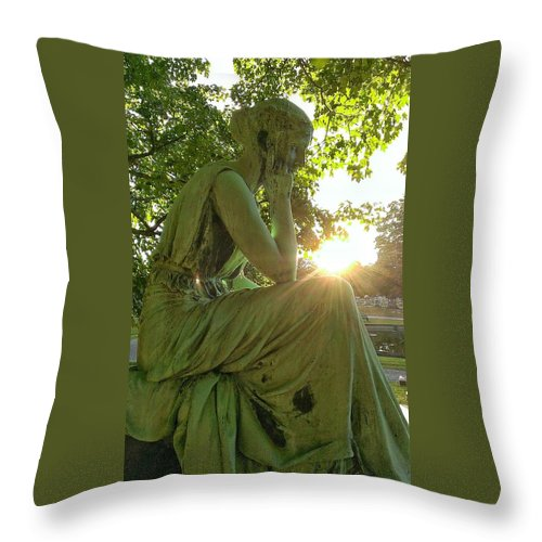 Cemetery Throw Pillow featuring the painting Contemplation by David Hinchen