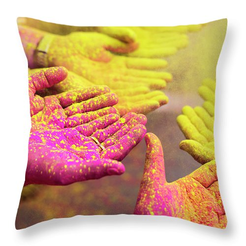 Hinduism Throw Pillow featuring the photograph Holy Hands by Xavierarnau