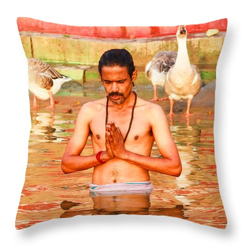 Ganga Throw Pillow featuring the photograph Holy River by Gaurav Singh