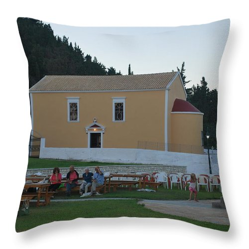 Holy Trinity Throw Pillow featuring the photograph Holy Trinity Feast by George Katechis