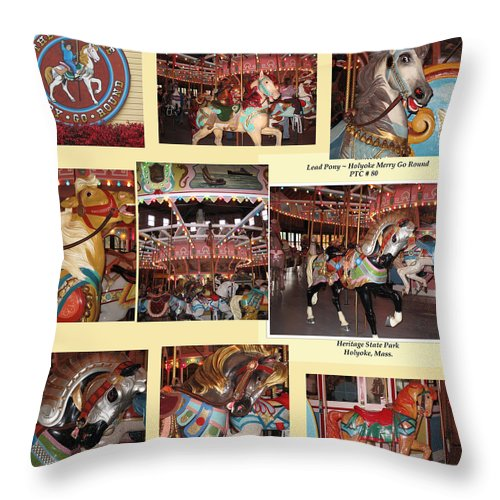 Carousel Throw Pillow featuring the photograph Holyoke Carousel Collage by Barbara McDevitt