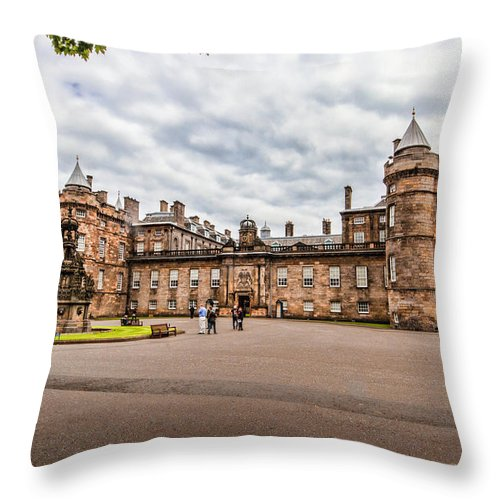 Edinburgh Throw Pillow featuring the photograph Holyrood Palace by Leon Roland