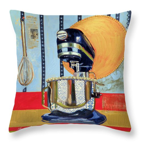 Kitchen Aid Mixer Throw Pillow featuring the painting Homage To Julia by Jennie Traill Schaeffer