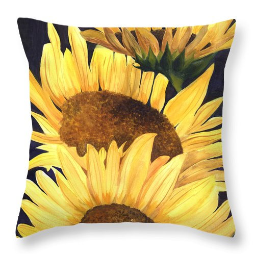 Sunflower Painting Throw Pillow featuring the painting Homage To The Sun by Terri Meyer