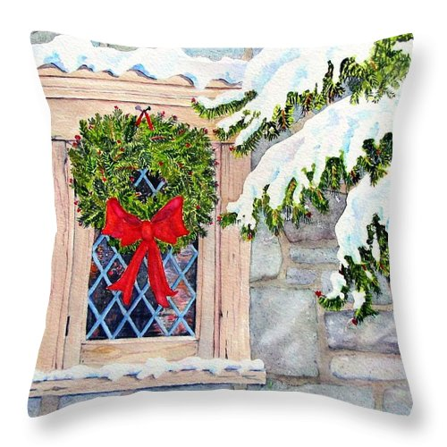 Card Throw Pillow featuring the painting Home For The Holidays by Mary Ellen Mueller Legault