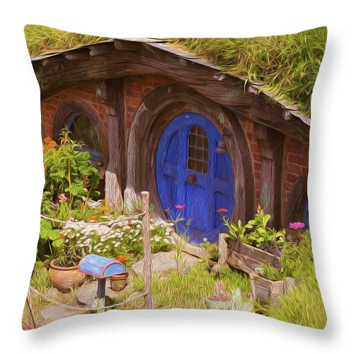 Hobbit Throw Pillow featuring the painting Home Of Hobbiton 2 by Jeelan Clark