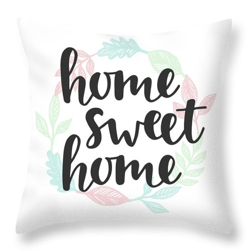 Home Decor Throw Pillow featuring the digital art Home Sweet Home Quote. Handwritten by Artrise
