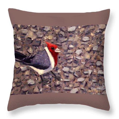 Bird Throw Pillow featuring the painting Home Turf by Laurie Morgan
