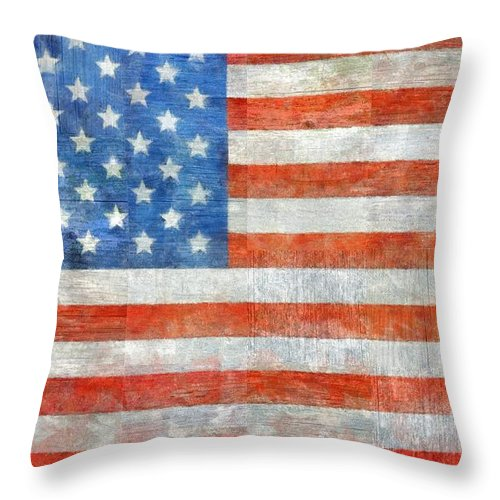 Flag Throw Pillow featuring the painting Homeland by Michelle Calkins
