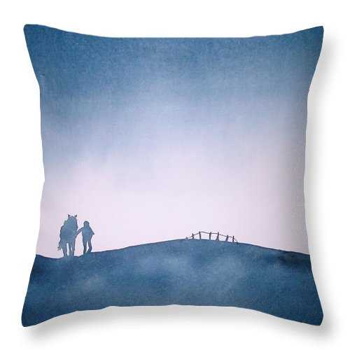 Horse Throw Pillow featuring the painting Homeward Bound by Janice Gell