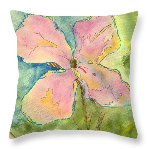 Lunaria Throw Pillow featuring the painting Honesty British Flower Painting by Mike Jory