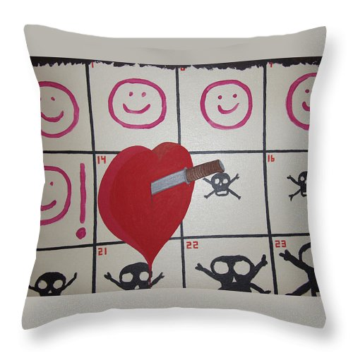 Edgy Throw Pillow featuring the painting Honeymoons Over by Dean Stephens