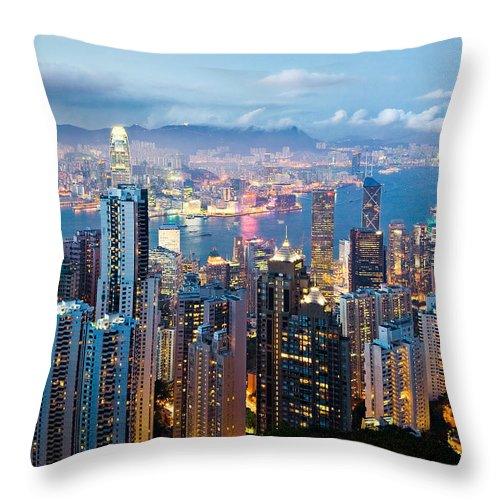Hong Kong Throw Pillow featuring the photograph Hong Kong At Dusk by Dave Bowman