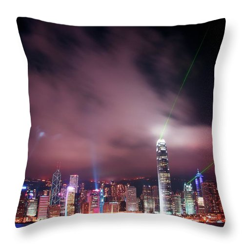 Tranquility Throw Pillow featuring the photograph Hong Kong Laser Lights by Photo By Dan Goldberger