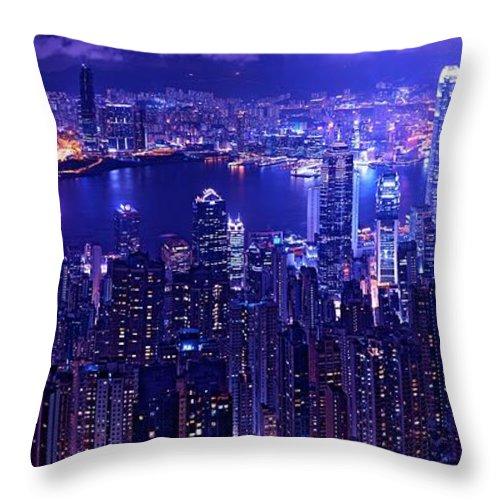 Hong Kong Prints Throw Pillow featuring the photograph Hong Kong In Purple by Monique's Fine Art