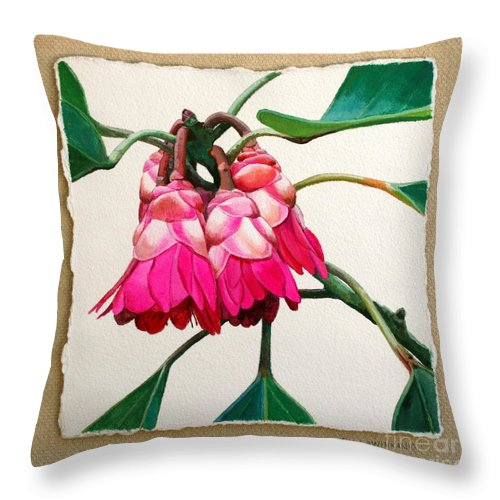 Jan Lawnikanis Throw Pillow featuring the painting Hong Kong Rose by Jan Lawnikanis
