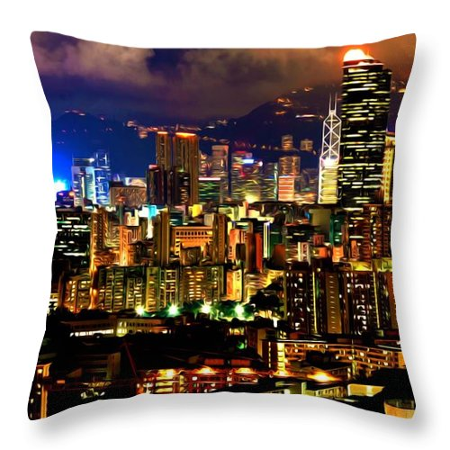 Architecture Throw Pillow featuring the painting Hong Kong Skyline At Night 1 by Jeelan Clark