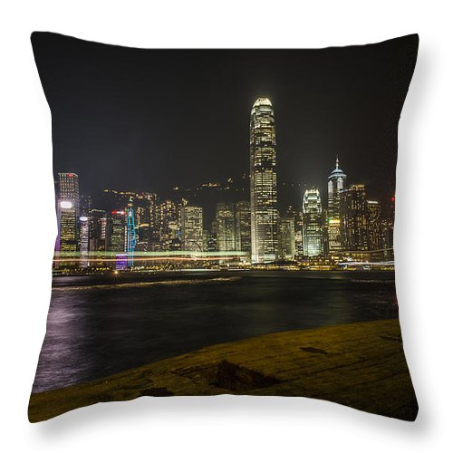Skyline Throw Pillow featuring the photograph Hong Kong Skyline by Luca Sartor