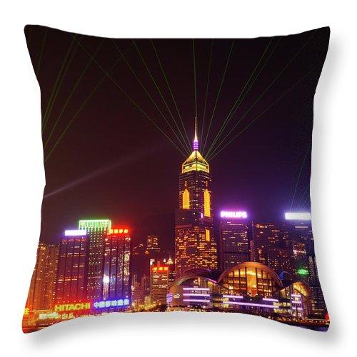 Laser Throw Pillow featuring the photograph Hongkong A Symphony Of Lights by @hapidayss