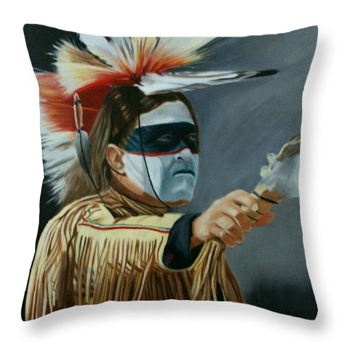 Native American Throw Pillow featuring the painting Honor by Jill Ciccone Pike