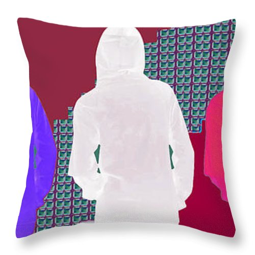 Hoodie Throw Pillow featuring the mixed media Hoodie Gang Graffiti Fashion Background Designs And Color Tones N Color Shades Available For Downlo by Navin Joshi