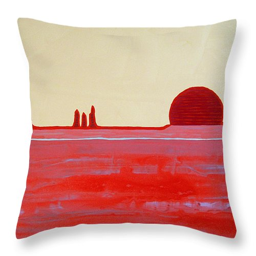 Painting Throw Pillow featuring the painting Hoodoo Sunrise Original Painting by Sol Luckman