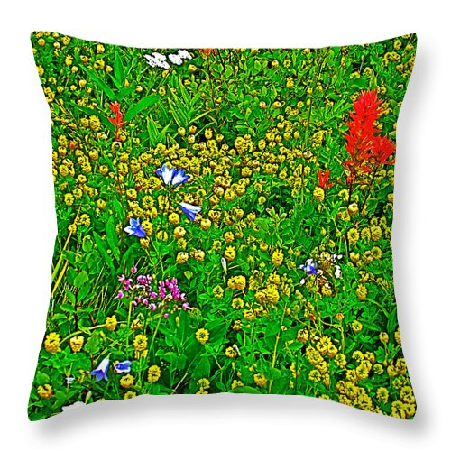 Hop Clover And Scarlet Paintbrush And Nodding Onion And Harebells Along Swiftcurrent Pass Trail In Glacier National Park Throw Pillow featuring the photograph Hop Clover And Scarlet Paintbrush And Nodding Onion And Harebells Along Swiftcurrent Pass Trail-mt  by Ruth Hager
