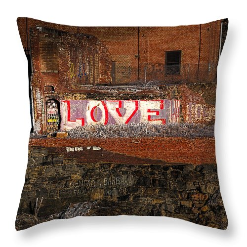 Urban Throw Pillow featuring the photograph Hope Love Lovelife by Bob Orsillo